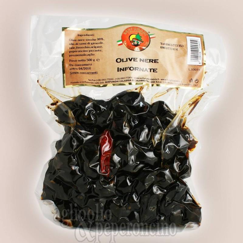 Olive nere infornate sotto vuoto