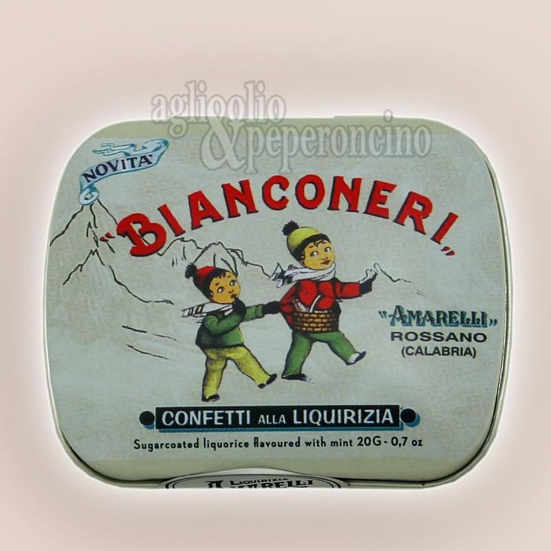 Bianconeri Amarelli - Confetti di liquirizia calabrese alla menta in lattina da 40g