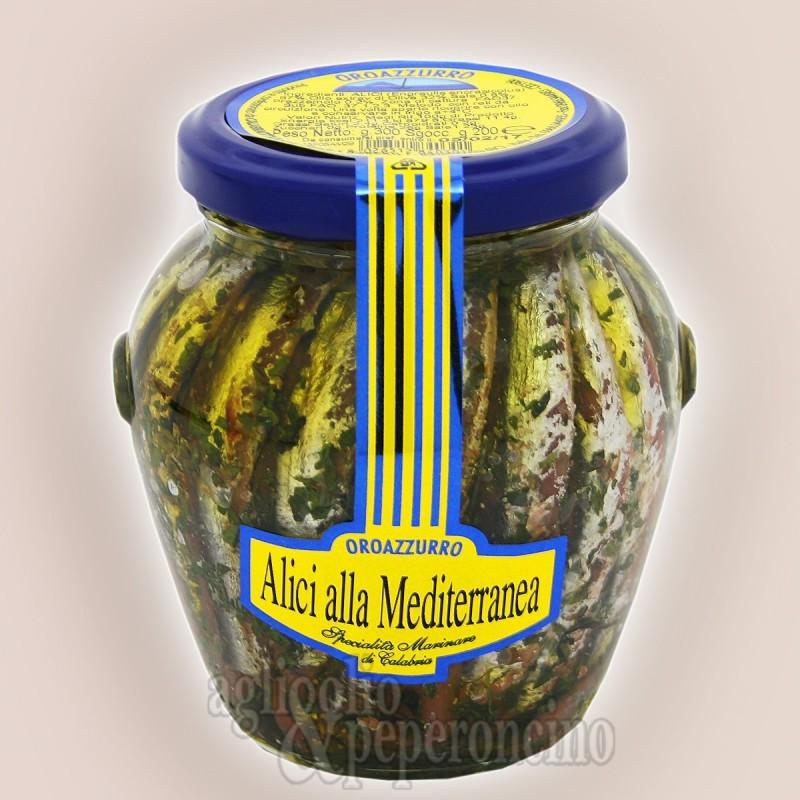 Alici alla Mediterranea con prezzemolo Oroazzurro in olio extravergine di oliva in vaso di vetro da 300 gr.