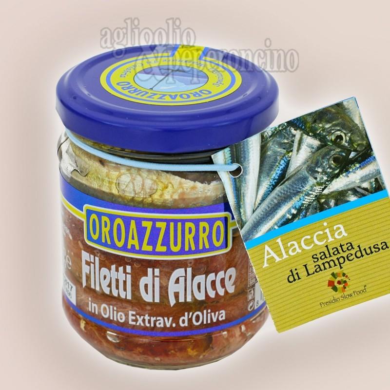Filetti di Alacce in olio extravergine d'oliva - Specialità calabrese a base di alacce salate di Lampedusa -  Presidio Slow Food