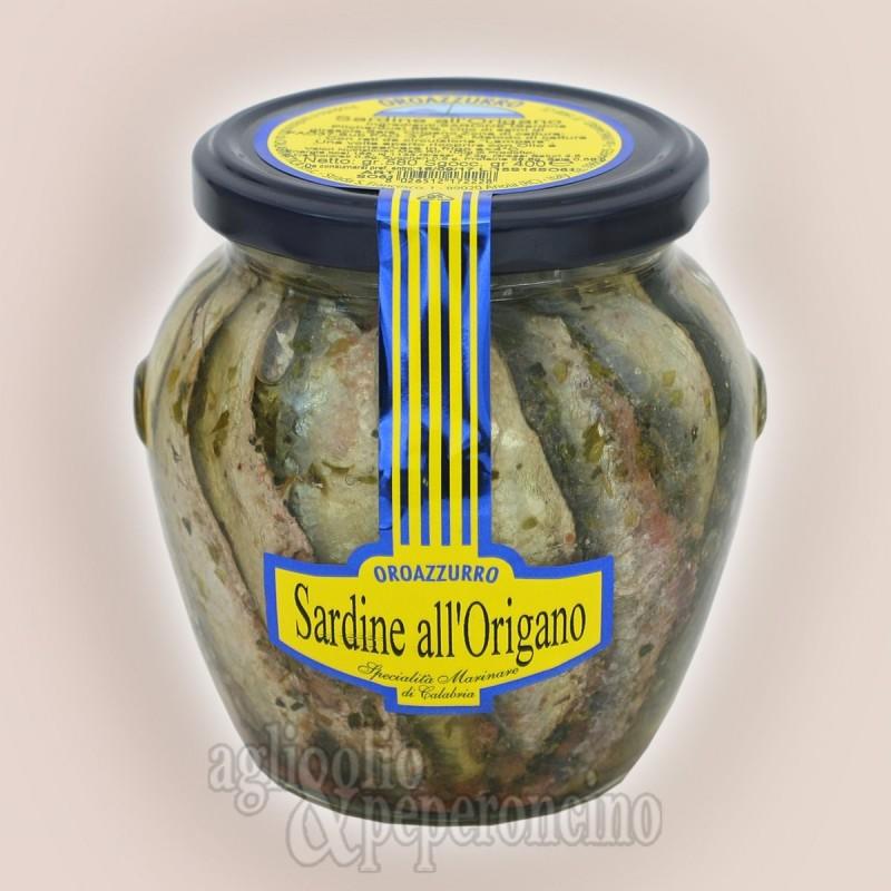 Sardine all'origano sott'olio - Prodotto ittico calabrese in vaso orcio e olio di semi