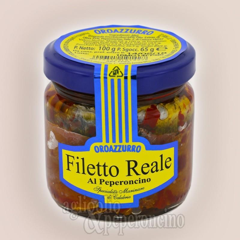 Filetto Reale al peperoncino in olio extravergine - Alici deliscate calabresi in vasetto da 100 grammi