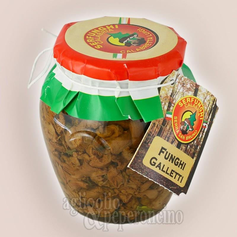 Funghi galletti o finferli sottolio 314 ml - Aromatizzati alla calabrese