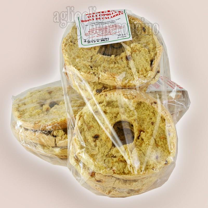 Friselle calabresi  biscottate 500 grammi - Con cipolla rossa