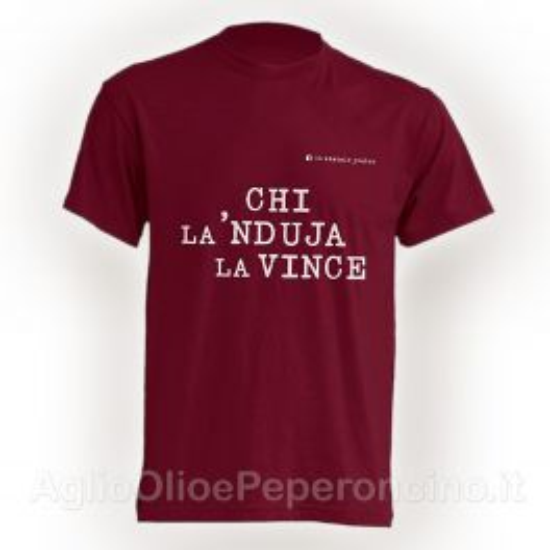 T-Shirt - Chi la 'Nduja la vince - Amaranto - By Lo Statale Jonico